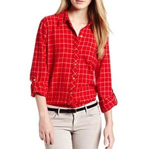 LUCKY BRAND Dottie Red Flannel Shirt {C11}